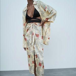 Zara oversized printed shirt & skirt with knot